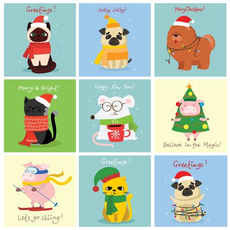 Vector illustration of christmas cats, rats, pigs and dogs.