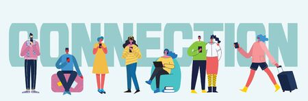 Connection background with people with smartphones.