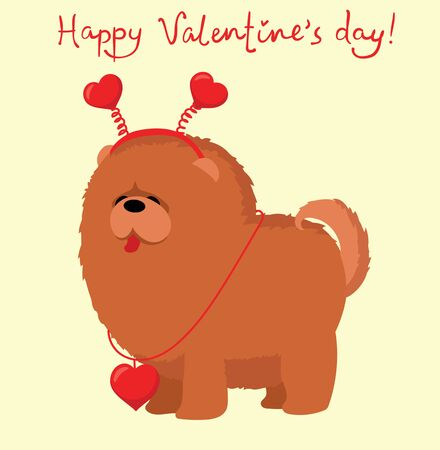 little Valentine dog in love with heart. Illustration