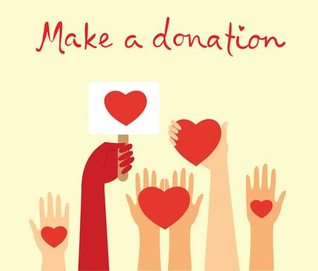 Vector illustration of donation and volunteers work.