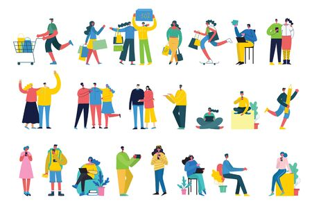 Vector illustration of different activities people. Illustration