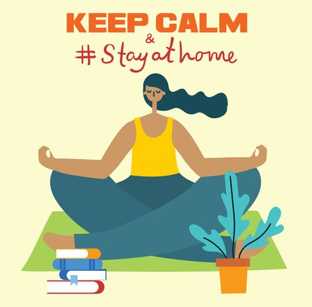 Keep calm and Stay at home. Stop coronavirus. Zdjęcie Seryjne - 143529489