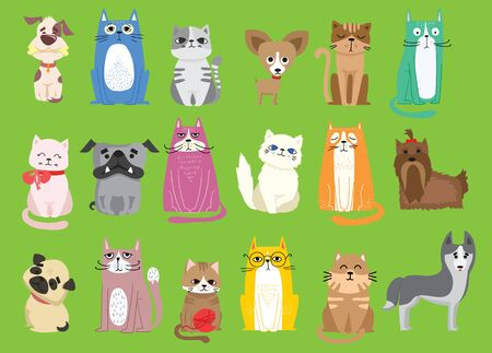 Vector illustration funny cartoon pet characters.
