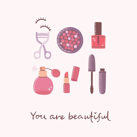 Collage of cosmetics and body care products for make up. Lipstick, lotion, hair comb, powder, perfumes, brush, nail polish. Vector modern illustration in flat style.