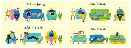 Take a break collage illustration. People have rest and read book, play guitar, use tablet on chair and sofa. Flat modern vector style.