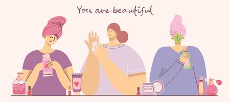 You are beautiful. Collage of cosmetics and body care products for make up near the girls . Lipstick, lotion, hair comb, powder, perfumes, brush, nail polish. Vector modern illustration in flat style.