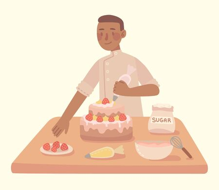 Young man cooking at a kitchen homemade cake with at home. Cooking cake with ingredients. Vector modern illustration in flat style.