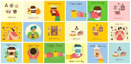 Set of cards with hands hold a cup of hot black dark coffee or beverage, with hand written text, simple flat colorful warm vector illustration.