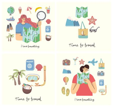 Cards with the women with the map and travel and summer holiday related objects and icons. For use on poster, banner, card and pattern collages. Modern vector flat style illustration