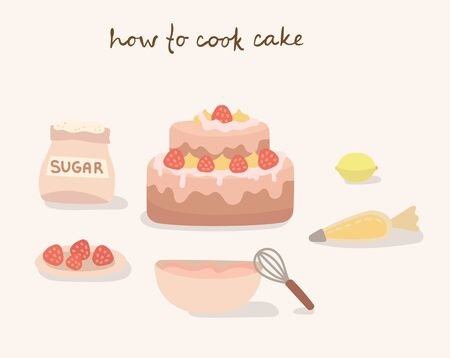 Colorful collection of baking items. How to cook a cake, vector illustration in flat design