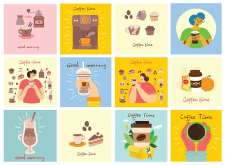 Set of cards with hands hold a cup of hot black dark coffee or beverage, people drinking coffee with cake, with hand written text, simple flat colorful warm vector illustration. Illustration