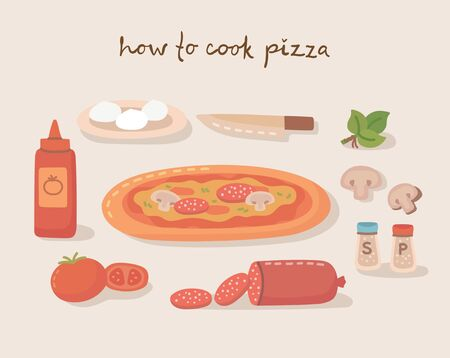 How to cook a tasty traditional vegetables pizza, with kitchen utensils, ingredients. Vector illustration in flat style