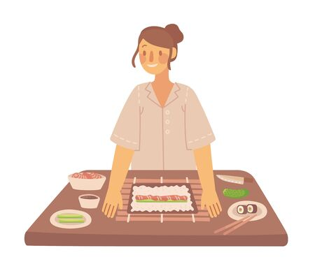 How to cook a tasty traditionalSushi and maki with kitchen utensils, ingredients. Vector illustration in flat style