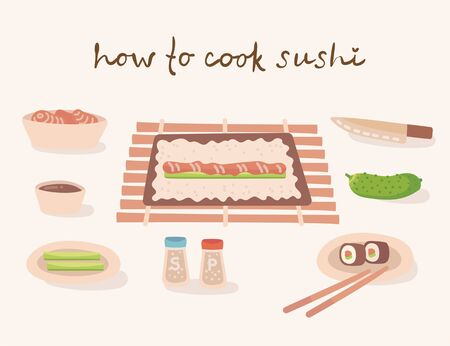 How to cook a japanese traditional cuisine illustration with kitchen utensils, ingredients. Vector illustration in flat style  イラスト・ベクター素材