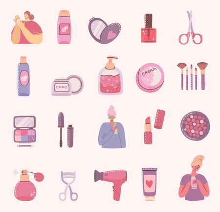 Collage of illustrations with of cosmetics and body care products for make up near the girls . Vector modern illustration in flat style.