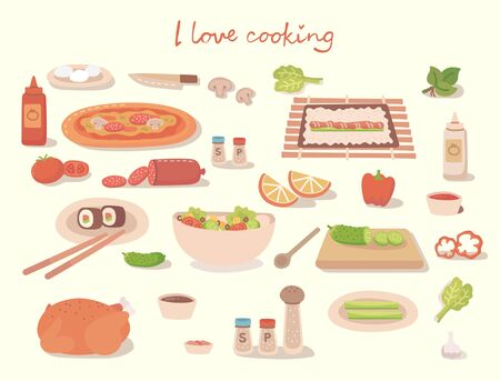 I love cocking a tasty pizza, a cake, a sushi and a salad with kitchen utensils, ingredients. Vector illustration in flat modern style Vectores