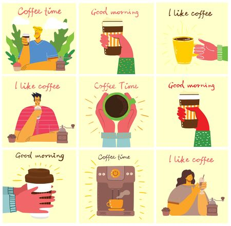 Coffee time, break and relaxation vector concept cards. Vector illustration in modern design style