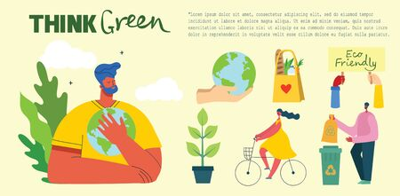 Think green. People taking care of planet collage. Zero waste, think green, save the planet, our home hand written text. Banco de Imagens - 150559541