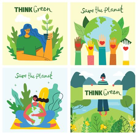 Set of eco save environment pictures. People taking care of planet collage. Zero waste, think green, save the planet, our home hand written text. Banco de Imagens - 150559544