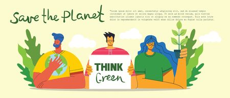 Think green. People taking care of planet collage. Zero waste, think green, save the planet, our home hand written text. Ilustração