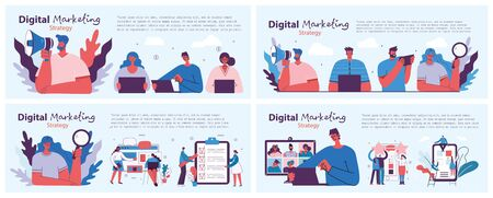 Digital marketing concept illustration in modern flat and clean design. Men and women use laptop and tablet, searching and promoting. Landing page, single page application for web development, design. Foto de archivo - 150121417