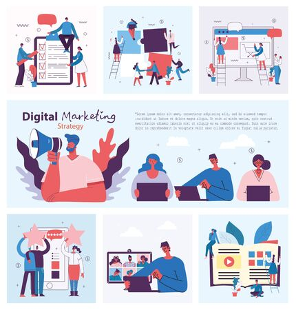 Digital marketing concept illustration in modern flat and clean design. Men and women use laptop and tablet, searching and promoting. Landing page, single page application for web development, design. Vectores