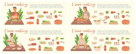 Young girl and boy cooking pizza, cake and salad in kitchen at home. Cooking pizza and salad with ingredients. Vector modern illustration in flat style.