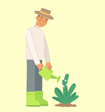 Man gardener waters a bed with a flower palnt. Vector iluustration in the modern flat design 向量圖像