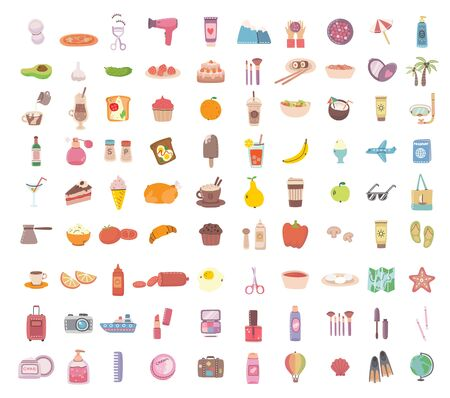 Big set of food, drink bodycare, travel and summer holiday related objects and icons. For use on poster, banner, card and pattern collages. Modern vector flat style illustration