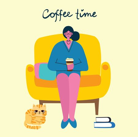 Smiling woman drinking coffee. Coffee time, break and relaxation vector concept cards. Vector illustration in flat design style