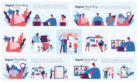 Digital marketing concept illustration in modern flat and clean design. Men and women use laptop and tablet, searching and promoting. Landing page, single page application for web development, design. 일러스트