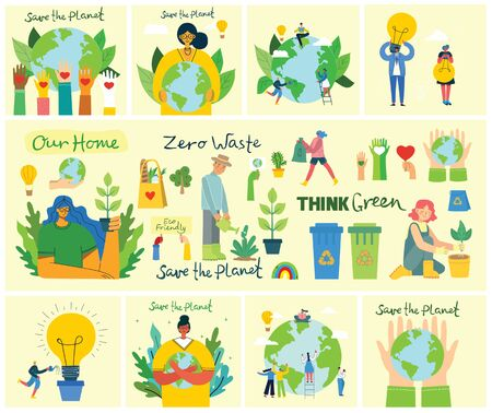 Set of eco save environment pictures. People taking care of planet collage. Zero waste, think green, save the planet, our home hand written text Ilustração