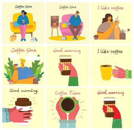 Smiling people friend drinking coffee and talking. Coffee time, break and relaxation vector concept cards. Vector illustration in modern flat design style Stock Illustratie