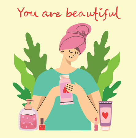You are beautiful illustration of body care products for make up near the girl . Vector modern illustration in modern flat style.
