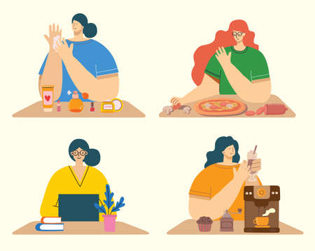 Women activities backgrounds. Women working, cooking, drinking coffee, bodycare concept in the modern flat style
