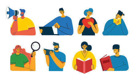 Set of people, men and women read book, work on laptop, search with magnifier, communicate. Vector graphic objects for collages and illustrations. Modern colorful flat style. Illusztráció