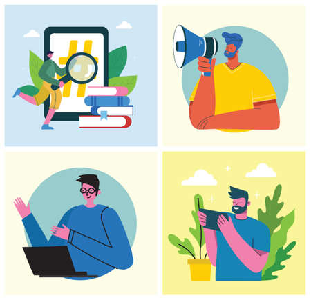 Marketing campaign, video conference, business analysis concept illustration in modern flat and clean design. Men and women use laptop and tablet in the flat design.