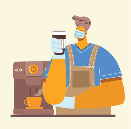 Hipster barista in tattoos makes coffee. He's Wearing medical face mask protection against the of coronavirus pandemic. Doodle style vector isolated picture