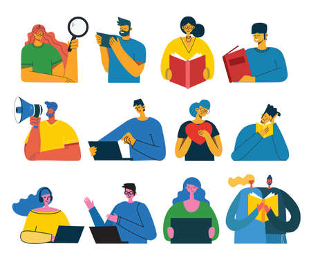 Set of people, men and women read book, work on laptop, search with magnifier, communicate. Vector graphic objects for collages and illustrations. Modern colorful flat style. Vettoriali