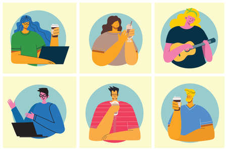Smiling people friend drinking coffee and talking. Coffee time, break and relaxation vector concept cards. Vector illustration in modern flat design style 向量圖像
