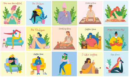 Women activities backgrounds. Women doing yoga, cooking, reading and working concept in the modern flat style