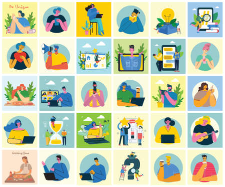 Set of people, men and women read book, work on laptop, search with magnifier, communicate. Vector graphic objects for collages and illustrations. Modern colorful flat style. Vectores