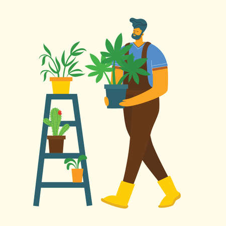 Young man gardener holding a flower pot. Vector illustration in a modern flat style