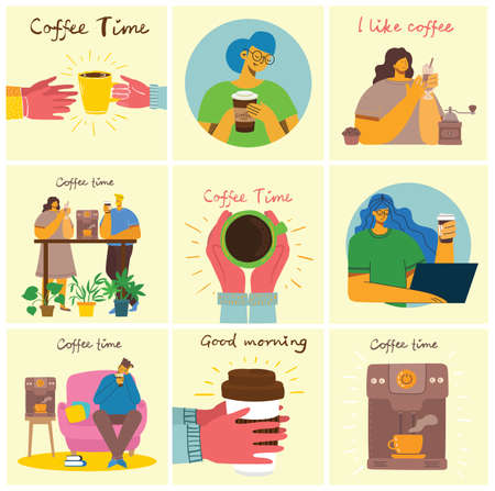 Smiling people friend drinking coffee and talking. Coffee time, break and relaxation vector concept cards. Vector illustration in modern flat design style Illustration