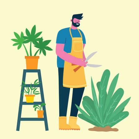 Young man gardener holding gardening scissors. Vector illustration in a modern flat style