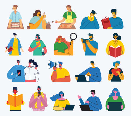 Set of people, men and women read book, work on laptop, search with magnifier, communicate. Vector graphic objects for collages and illustrations. Modern colorful flat style. Illustration