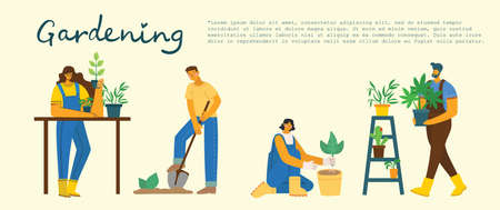 Young man and woman gardener holding a flower pot. Vector illustration in a modern flat style