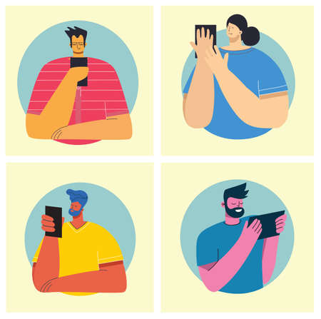 Four different young people using mobile phones socializing on internet in the flat style Illustration
