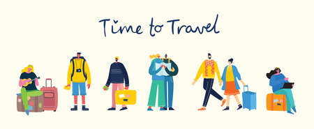Time to travel. Vector illustration with isolated young people traveler in various activity with luggage and tourist equipment in modern flat design