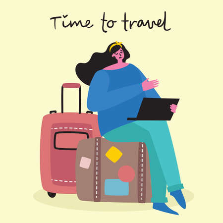 Time to travel. Vector illustration with isolated young girl traveler in various activity with luggage and tourist equipment in modern flat design Illustration